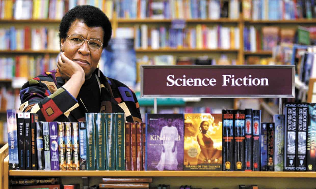 Octavia E Butler with some of her novels at University Book Store in Seattle, in 2004. Photograph: Joshua Trujillo/AP